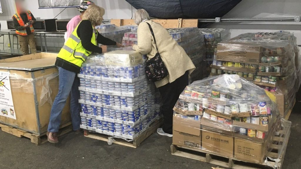 pallets of donated food